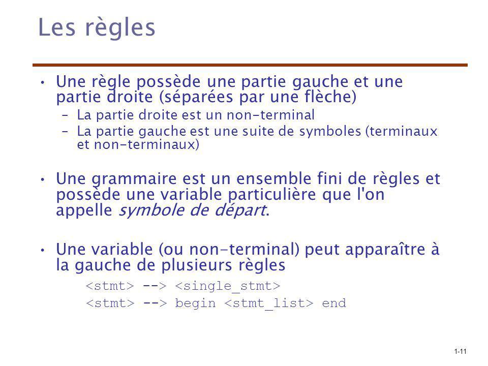 1-11 Les règles Une règle possède une partie gauche et une partie droite (séparées par une flèche) –La partie droite est un non-terminal –La partie ga