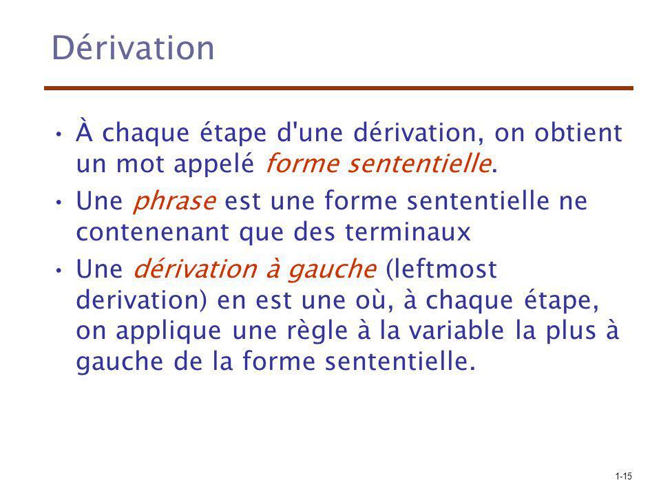 1-15 Dérivation À chaque étape d'une dérivation, on obtient un mot appelé forme sententielle. Une phrase est une forme sententielle ne contenenant que