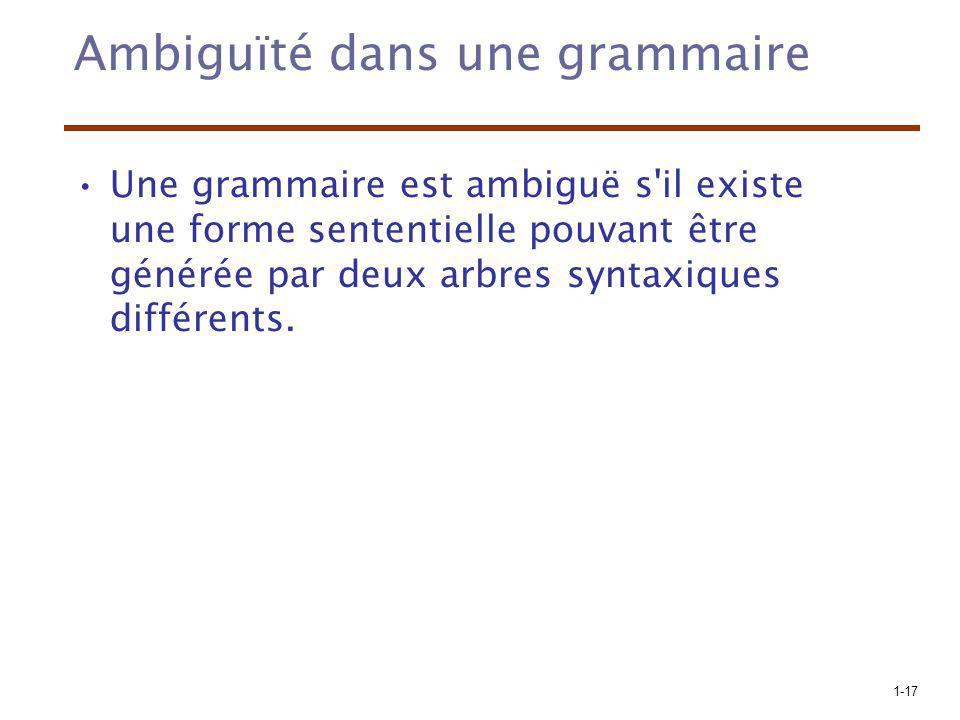 1-17 Ambiguïté dans une grammaire Une grammaire est ambiguë s'il existe une forme sententielle pouvant être générée par deux arbres syntaxiques différ