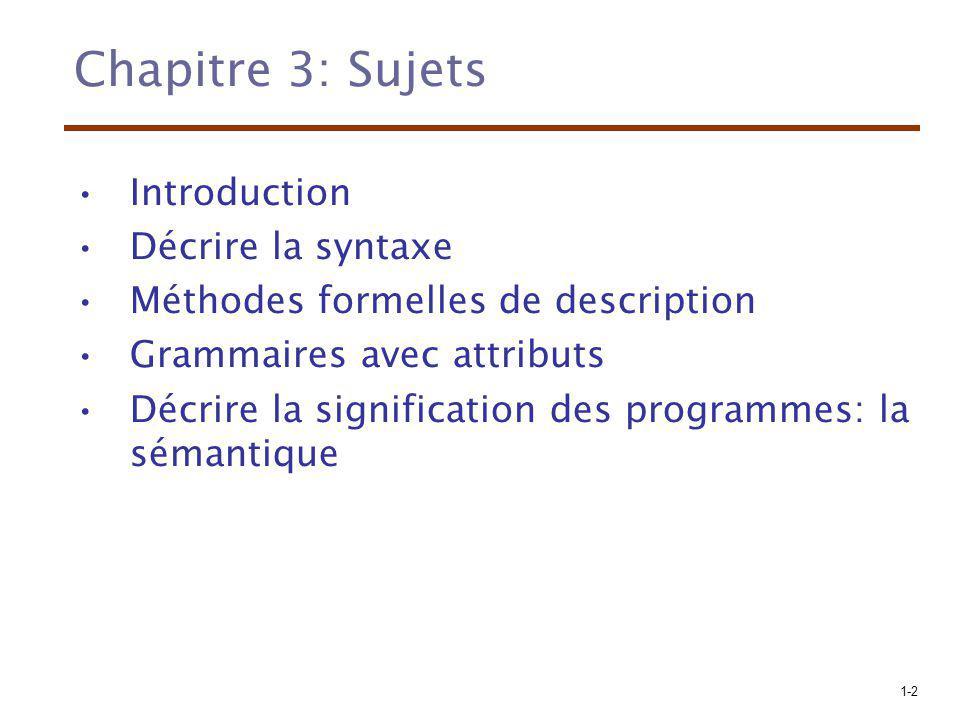 1-2 Chapitre 3: Sujets Introduction Décrire la syntaxe Méthodes formelles de description Grammaires avec attributs Décrire la signification des progra