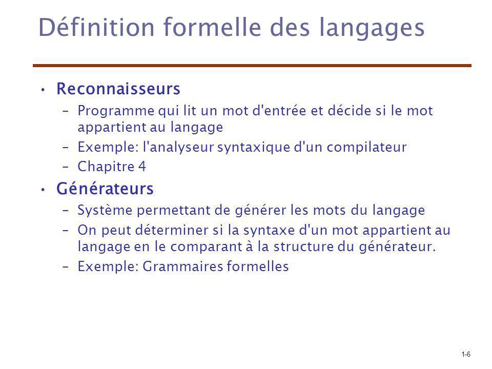 1-6 Définition formelle des langages Reconnaisseurs –Programme qui lit un mot d'entrée et décide si le mot appartient au langage –Exemple: l'analyseur