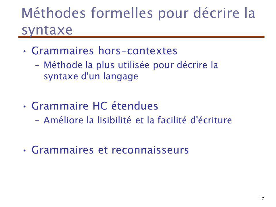 1-7 Méthodes formelles pour décrire la syntaxe Grammaires hors-contextes –Méthode la plus utilisée pour décrire la syntaxe d'un langage Grammaire HC é