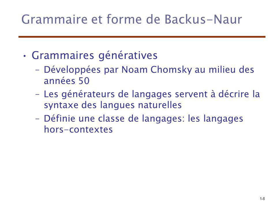 1-8 Grammaire et forme de Backus-Naur Grammaires génératives –Développées par Noam Chomsky au milieu des années 50 –Les générateurs de langages serven