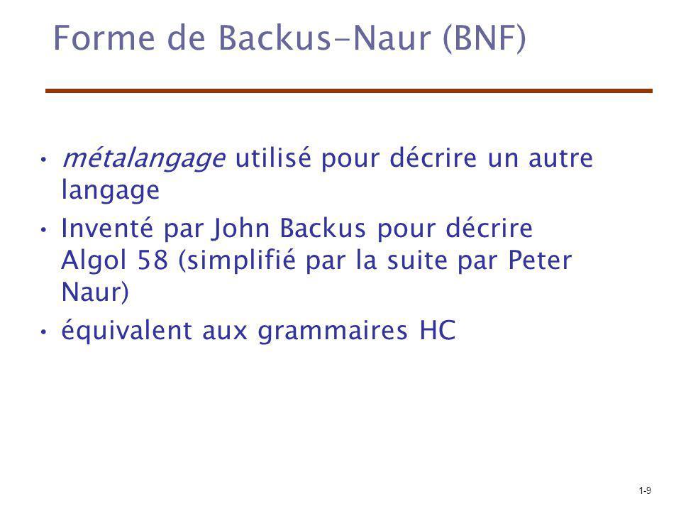 1-9 Forme de Backus-Naur (BNF) métalangage utilisé pour décrire un autre langage Inventé par John Backus pour décrire Algol 58 (simplifié par la suite