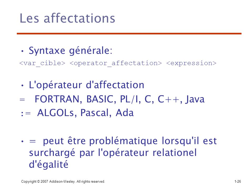 Copyright © 2007 Addison-Wesley. All rights reserved.1-26 Les affectations Syntaxe générale: L'opérateur d'affectation = FORTRAN, BASIC, PL/I, C, C++,