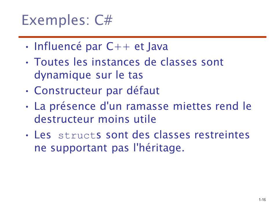 1-16 Exemples: C# Influencé par C++ et Java Toutes les instances de classes sont dynamique sur le tas Constructeur par défaut La présence d'un ramasse