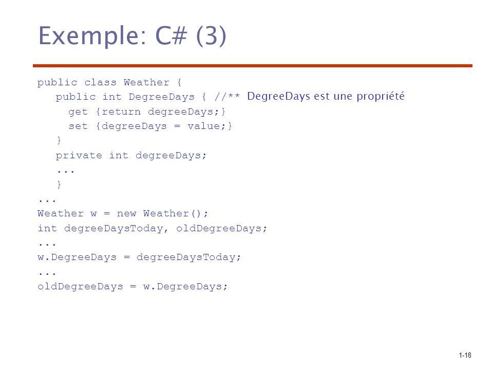 1-18 Exemple: C# (3) public class Weather { public int DegreeDays { //** DegreeDays est une propriété get {return degreeDays;} set {degreeDays = value