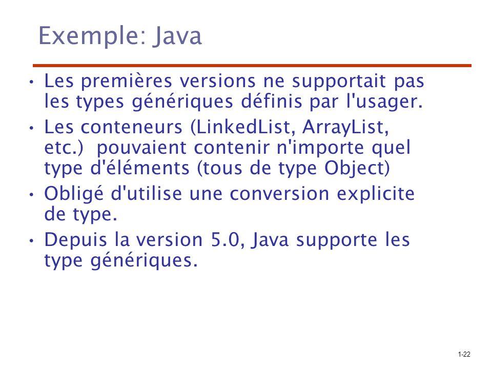 1-22 Exemple: Java Les premières versions ne supportait pas les types génériques définis par l'usager. Les conteneurs (LinkedList, ArrayList, etc.) po