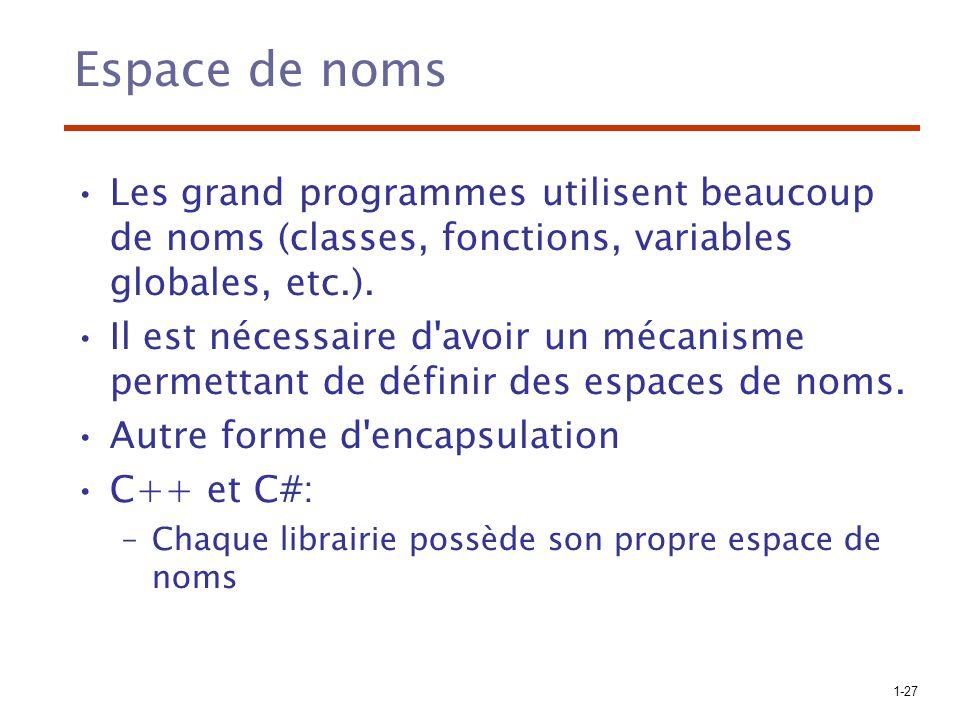 1-27 Espace de noms Les grand programmes utilisent beaucoup de noms (classes, fonctions, variables globales, etc.). Il est nécessaire d'avoir un mécan