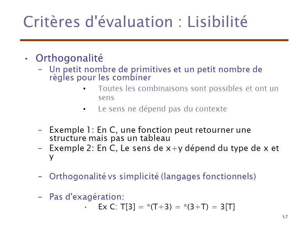 1-8 Critères d évaluation : Lisibilité Sructures de contrôle –Présence de structures de contrôle bien connues (e.g., while plutôt que goto) Types et structures de données –Présence de mécanismes pour definir des structures de données.