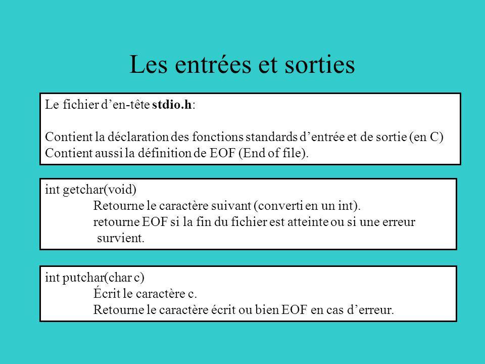 Les entrées et sorties int getchar(void) Retourne le caractère suivant (converti en un int). retourne EOF si la fin du fichier est atteinte ou si une