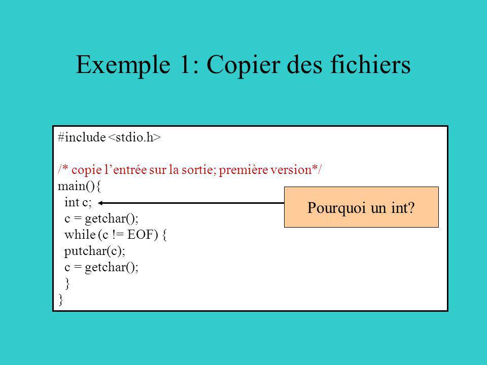 Exemple 1: Copier des fichiers #include /* copie lentrée sur la sortie; première version*/ main(){ int c; c = getchar(); while (c != EOF) { putchar(c)