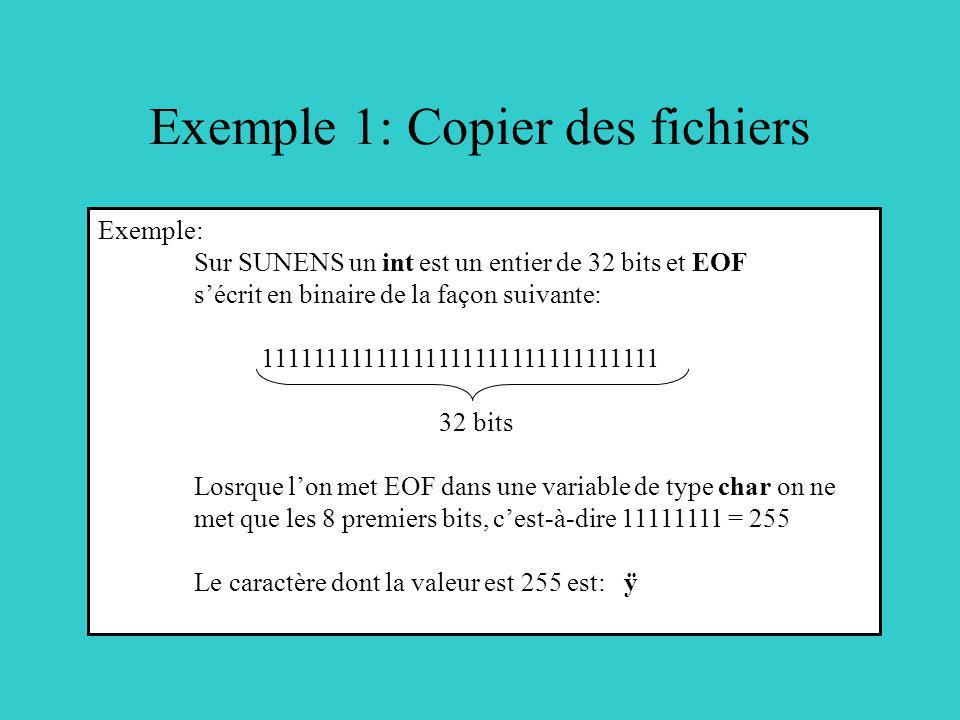 Exemple 1: Copier des fichiers Exemple: Sur SUNENS un int est un entier de 32 bits et EOF sécrit en binaire de la façon suivante: 11111111111111111111111111111111 32 bits Losrque lon met EOF dans une variable de type char on ne met que les 8 premiers bits, cest-à-dire 11111111 = 255 Le caractère dont la valeur est 255 est: ÿ