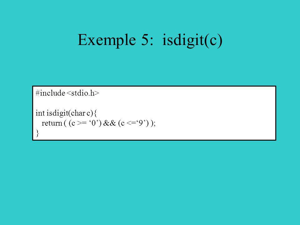 Exemple 5: isdigit(c) #include int isdigit(char c){ return ( (c >= 0) && (c <=9) ); }