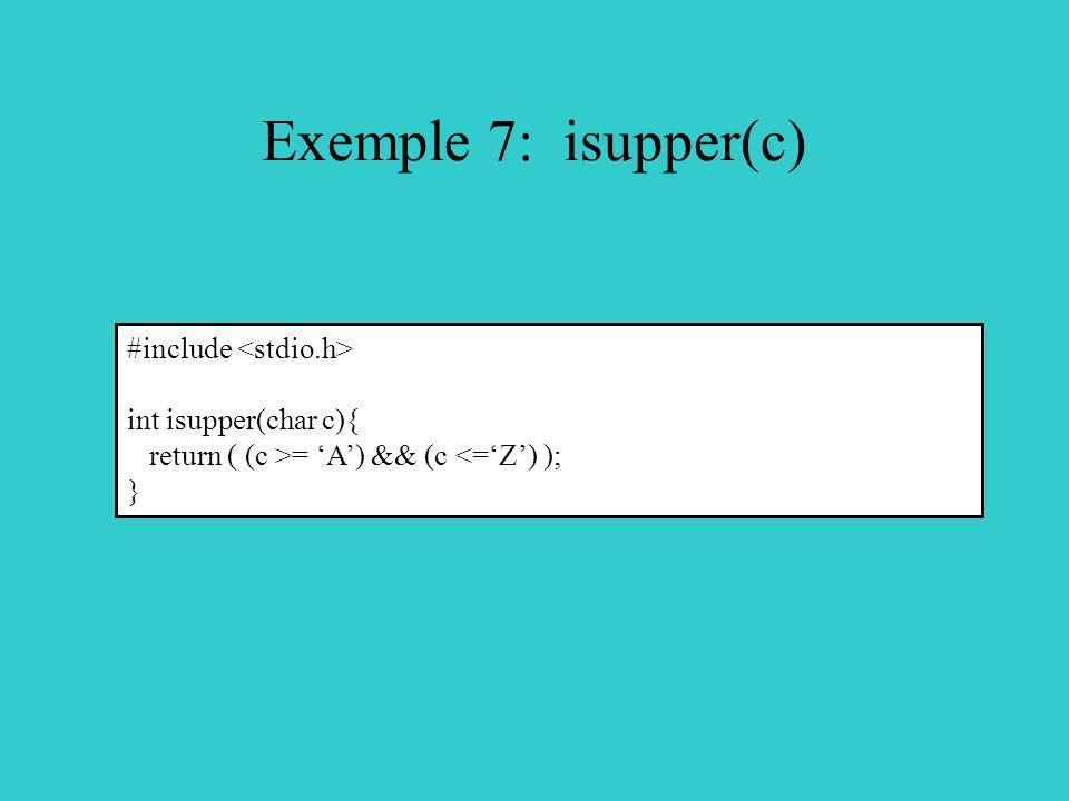 Exemple 7: isupper(c) #include int isupper(char c){ return ( (c >= A) && (c <=Z) ); }