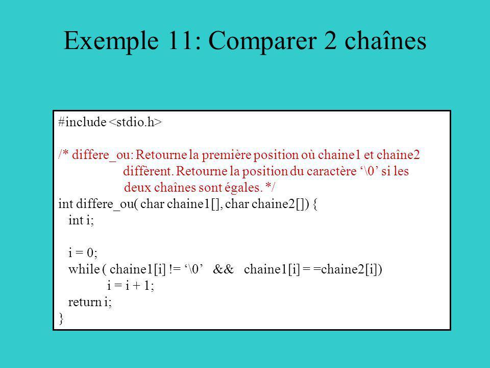 Exemple 11: Comparer 2 chaînes #include /* differe_ou: Retourne la première position où chaine1 et chaîne2 diffèrent. Retourne la position du caractèr