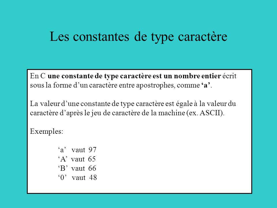 Les constantes de type caractère En C une constante de type caractère est un nombre entier écrit sous la forme dun caractère entre apostrophes, comme