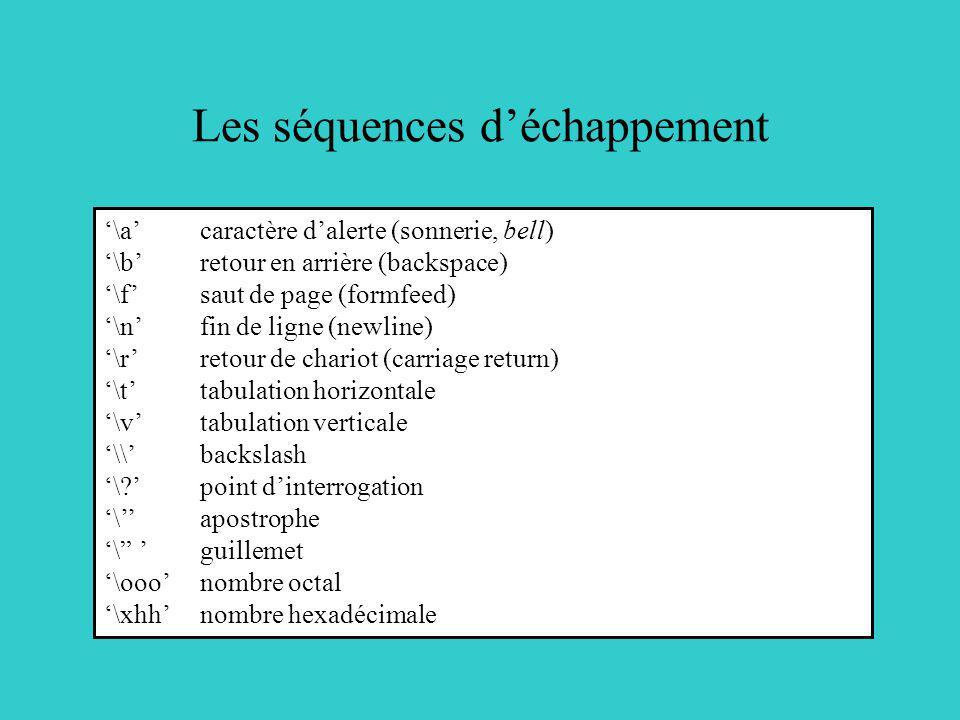 Les séquences déchappement \acaractère dalerte (sonnerie, bell) \bretour en arrière (backspace) \fsaut de page (formfeed) \nfin de ligne (newline) \rr