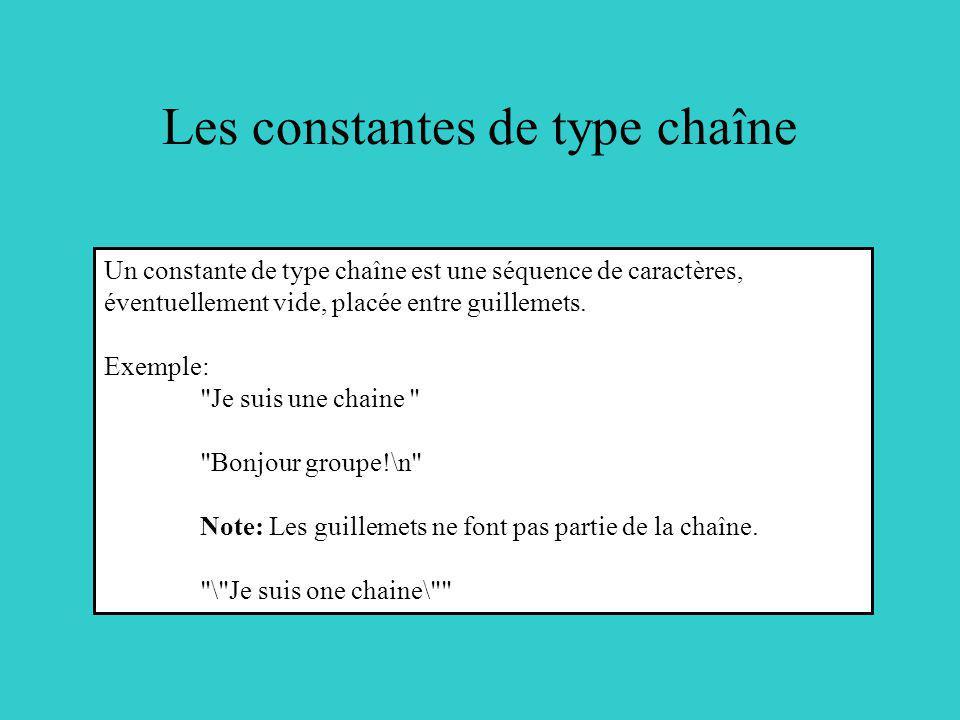 Les constantes de type chaîne Un constante de type chaîne est une séquence de caractères, éventuellement vide, placée entre guillemets. Exemple: