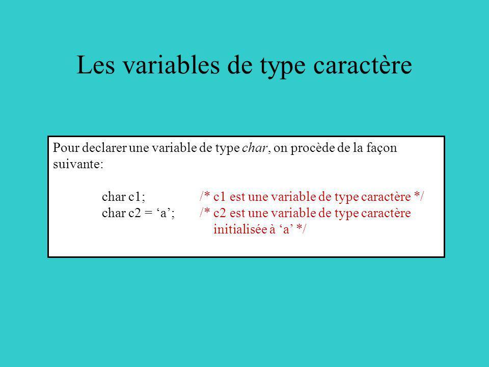 Les variables de type caractère Pour declarer une variable de type char, on procède de la façon suivante: char c1; /* c1 est une variable de type cara