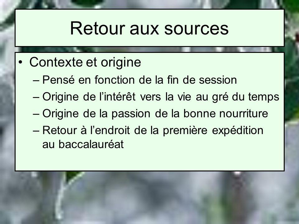 Retour aux sources Contexte et origine –Pensé en fonction de la fin de session –Origine de lintérêt vers la vie au gré du temps –Origine de la passion
