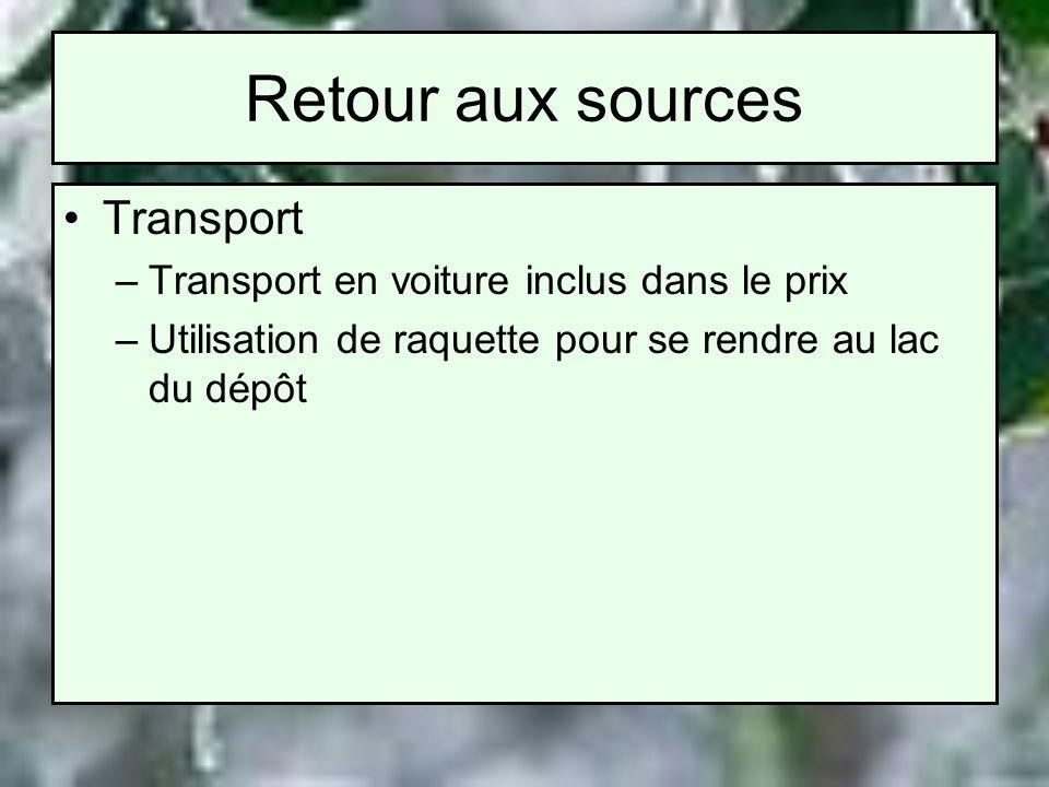 Retour aux sources Transport –Transport en voiture inclus dans le prix –Utilisation de raquette pour se rendre au lac du dépôt
