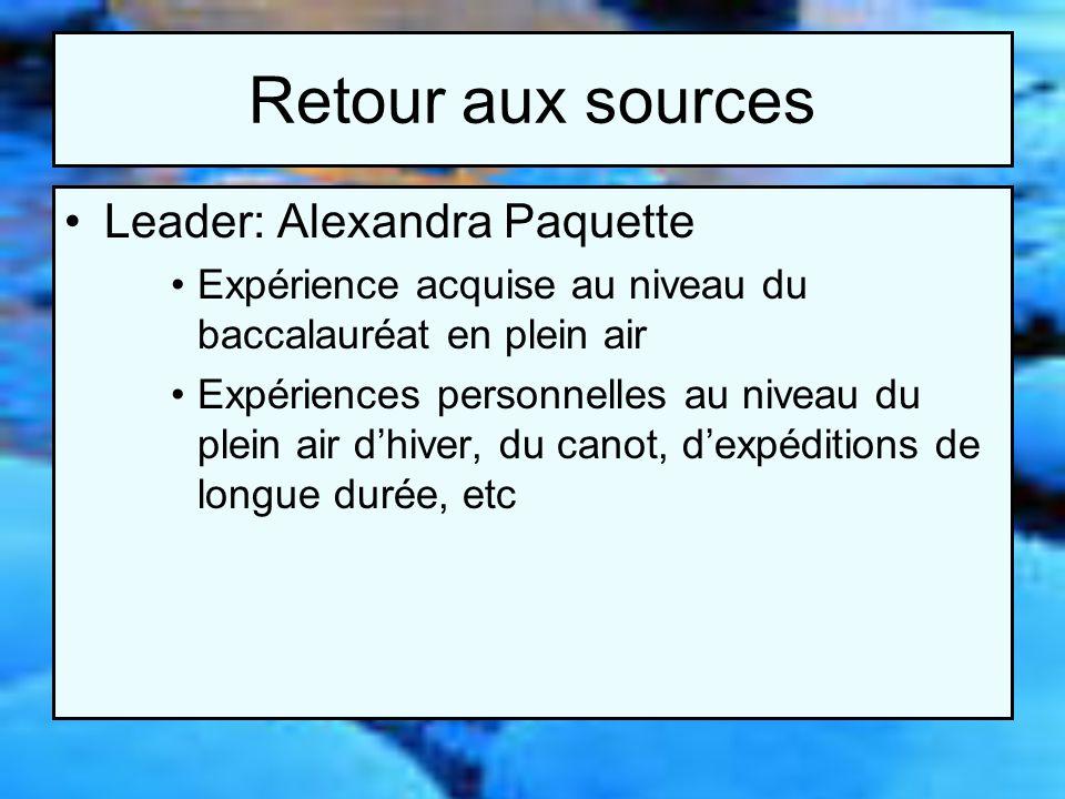 Retour aux sources Leader: Alexandra Paquette Expérience acquise au niveau du baccalauréat en plein air Expériences personnelles au niveau du plein air dhiver, du canot, dexpéditions de longue durée, etc
