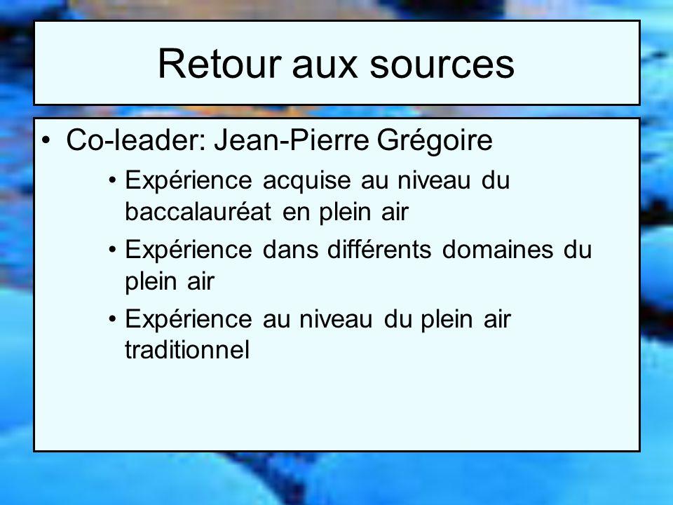 Retour aux sources Co-leader: Jean-Pierre Grégoire Expérience acquise au niveau du baccalauréat en plein air Expérience dans différents domaines du pl