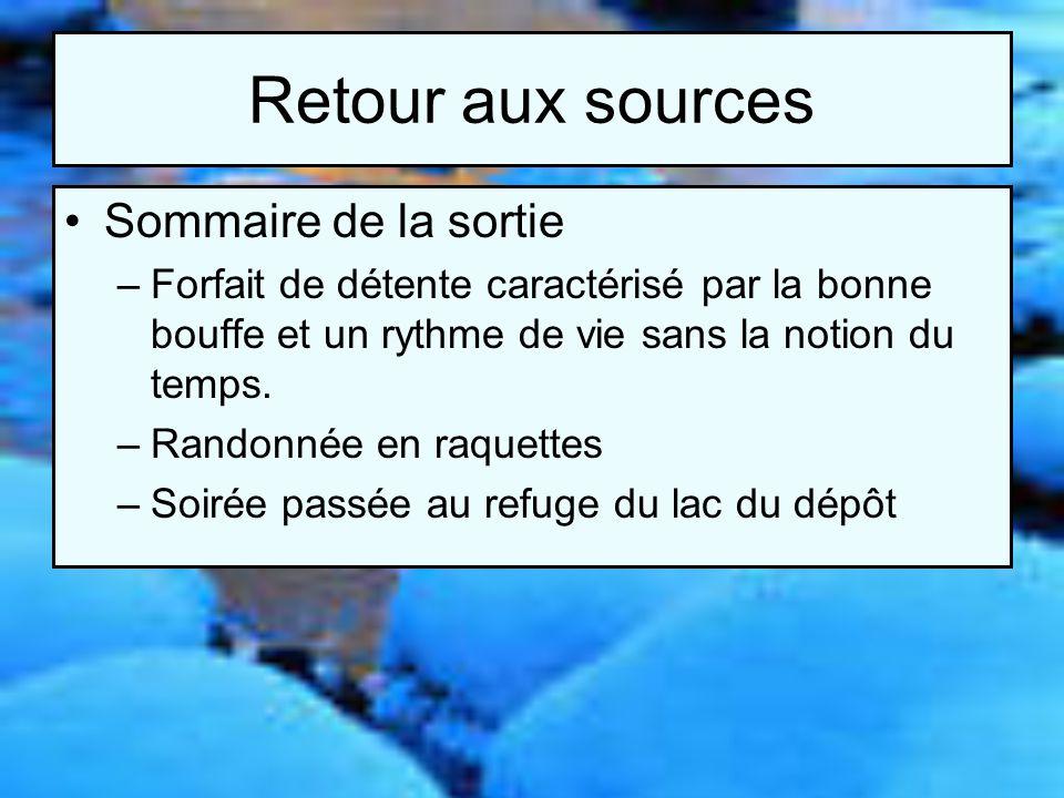Retour aux sources Présentation des participants –Jean-Pierre Grégoire –Jonathan Dubé-Marcoux –Thierry Clément –Guillaume Morin –Pierre Beauregard