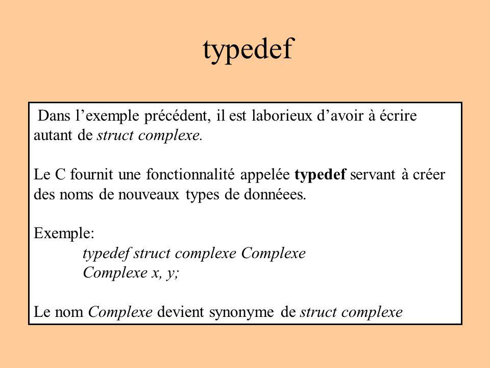 typedef Dans lexemple précédent, il est laborieux davoir à écrire autant de struct complexe.