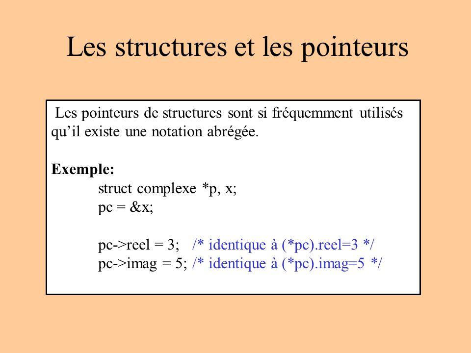 Les structures et les pointeurs Les pointeurs de structures sont si fréquemment utilisés quil existe une notation abrégée.