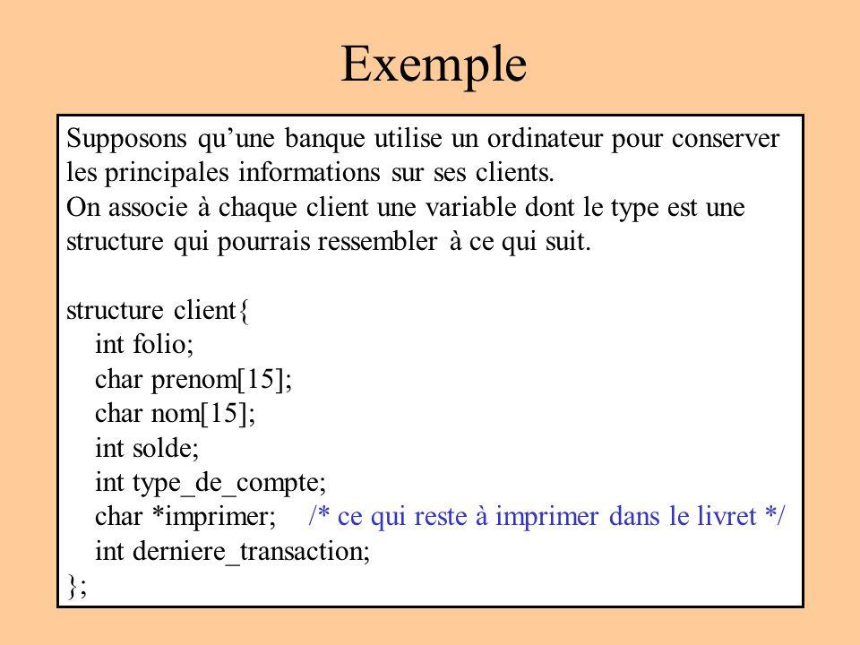 Exemple Supposons quune banque utilise un ordinateur pour conserver les principales informations sur ses clients.