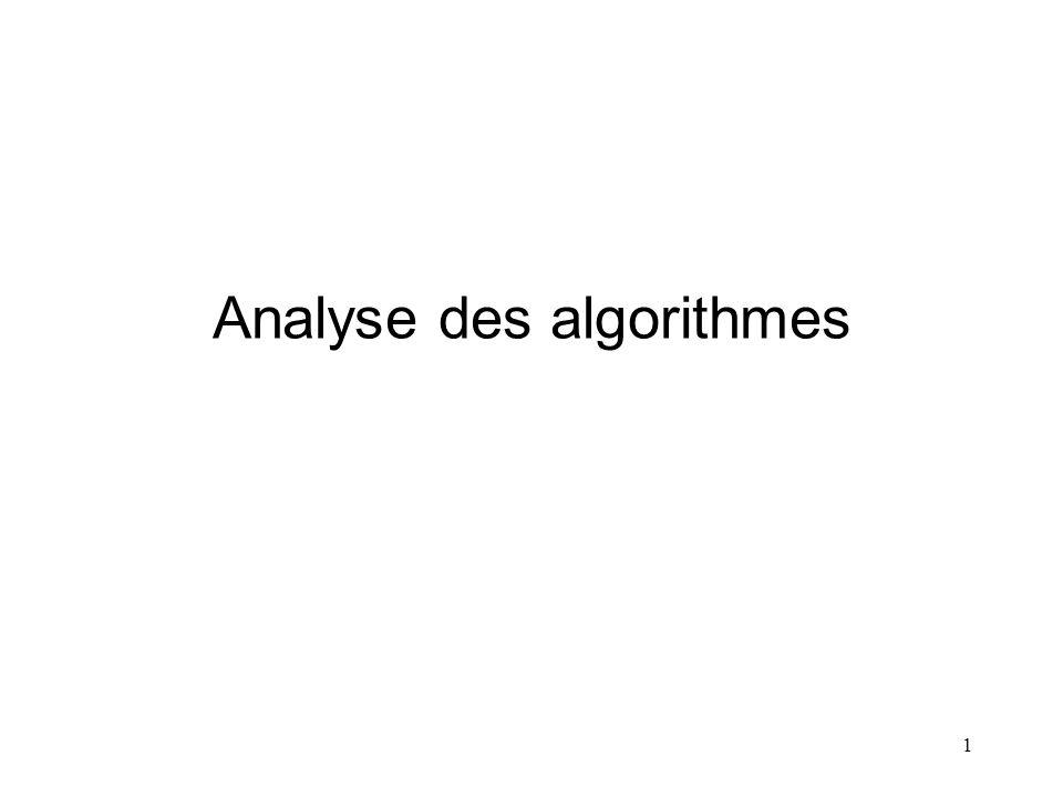 1 Analyse des algorithmes
