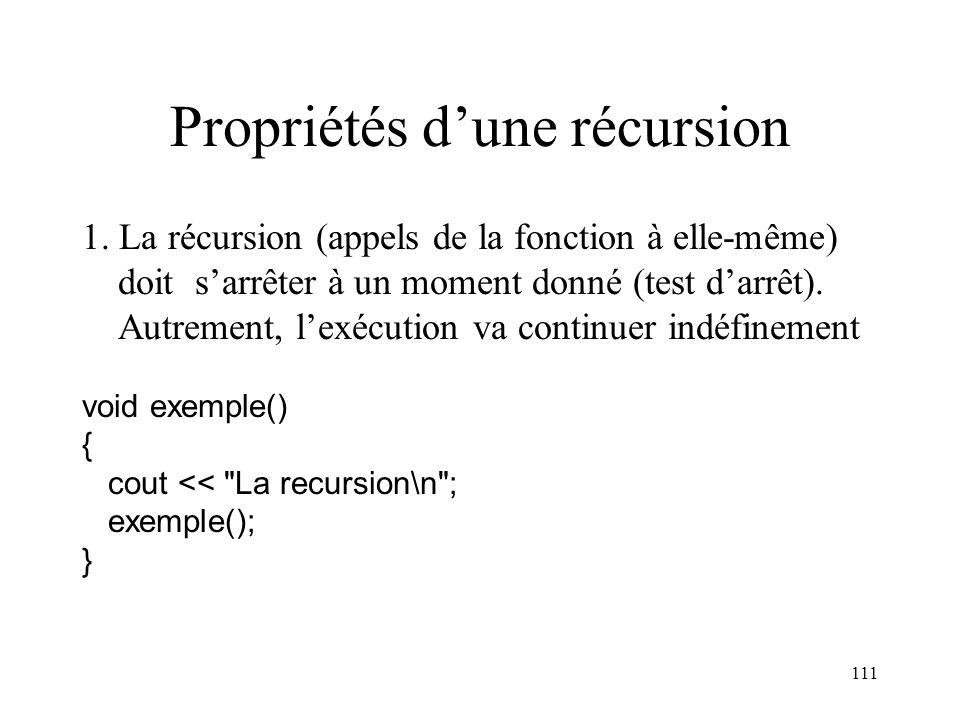 111 Propriétés dune récursion 1. La récursion (appels de la fonction à elle-même) doit sarrêter à un moment donné (test darrêt). Autrement, lexécution
