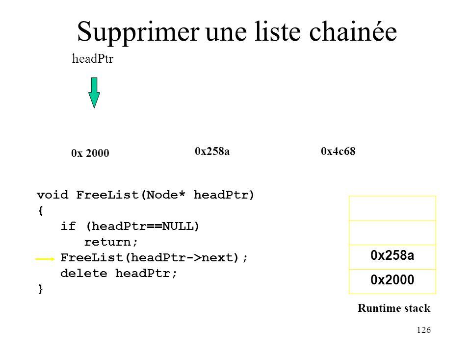 126 Supprimer une liste chainée 0x258a0x4c68 0x 2000 0x258a 0x2000 headPtr void FreeList(Node* headPtr) { if (headPtr==NULL) return; FreeList(headPtr-