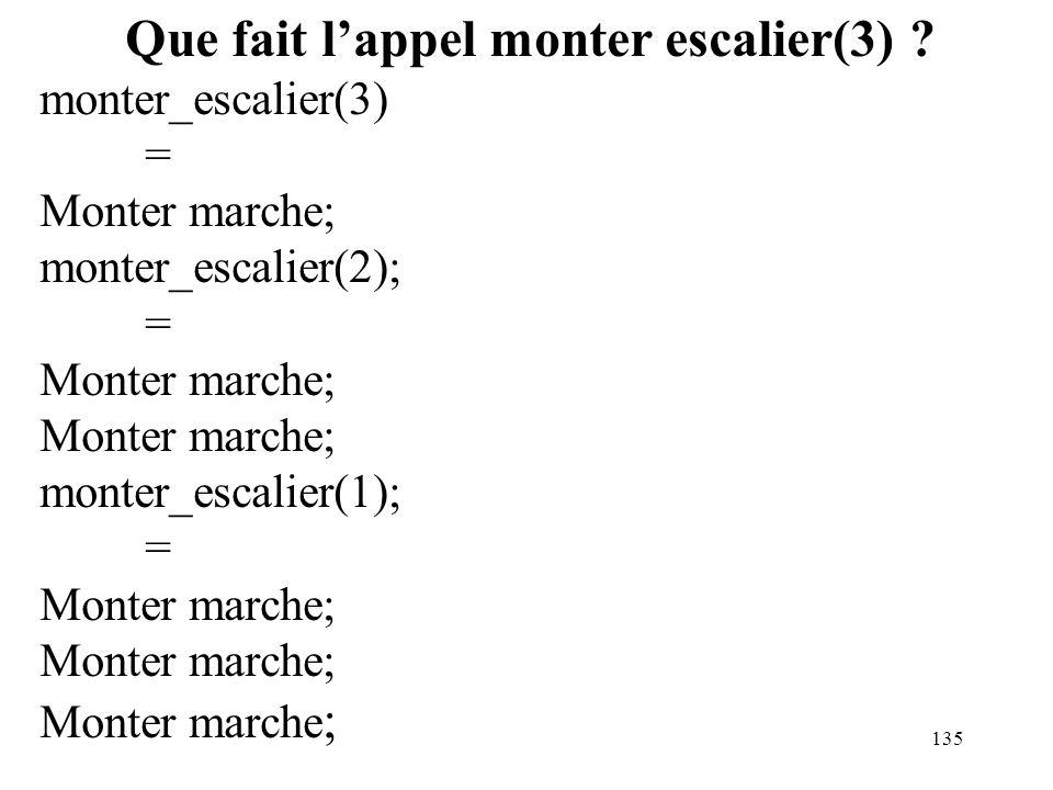 135 Que fait lappel monter escalier(3) ? monter_escalier(3) = Monter marche; monter_escalier(2); = Monter marche; monter_escalier(1); = Monter marche;