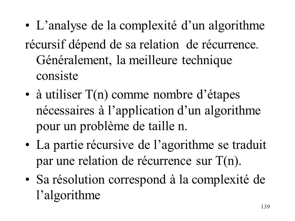Lanalyse de la complexité dun algorithme récursif dépend de sa relation de récurrence. Généralement, la meilleure technique consiste à utiliser T(n) c