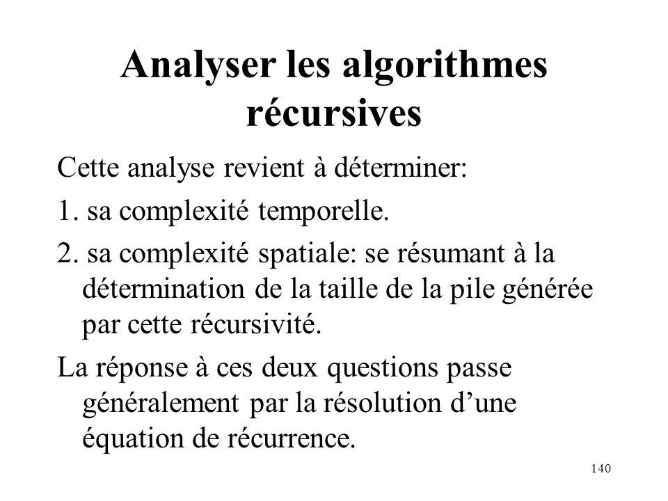 Analyser les algorithmes récursives Cette analyse revient à déterminer: 1. sa complexité temporelle. 2. sa complexité spatiale: se résumant à la déter