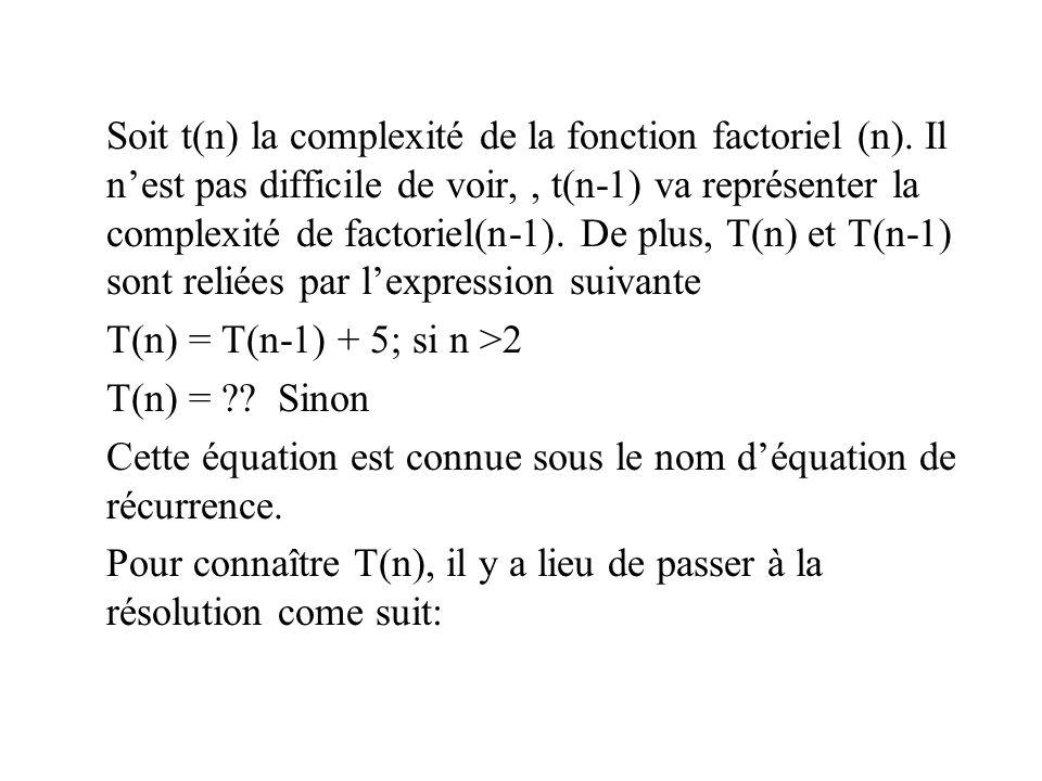 Soit t(n) la complexité de la fonction factoriel (n). Il nest pas difficile de voir,, t(n-1) va représenter la complexité de factoriel(n-1). De plus,