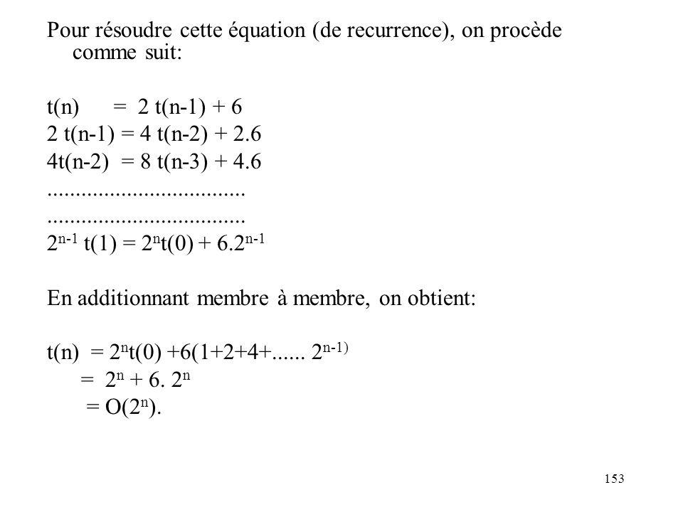 153 Pour résoudre cette équation (de recurrence), on procède comme suit: t(n) = 2 t(n-1) + 6 2 t(n-1) = 4 t(n-2) + 2.6 4t(n-2) = 8 t(n-3) + 4.6.......
