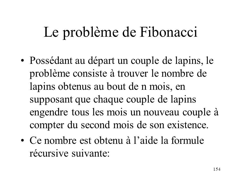 Le problème de Fibonacci Possédant au départ un couple de lapins, le problème consiste à trouver le nombre de lapins obtenus au bout de n mois, en sup