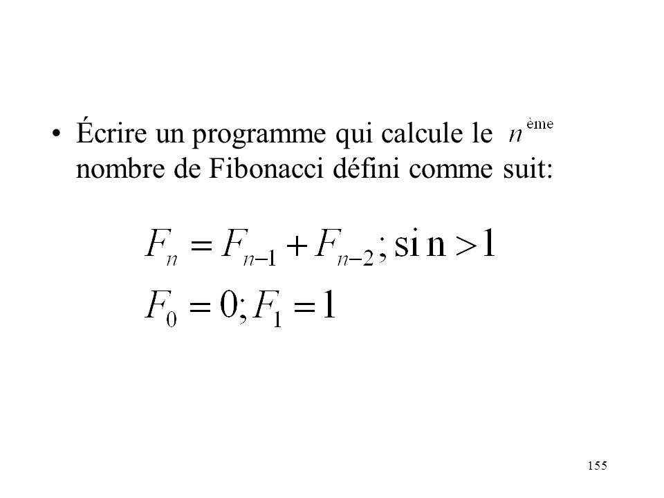 155 Écrire un programme qui calcule le nombre de Fibonacci défini comme suit: