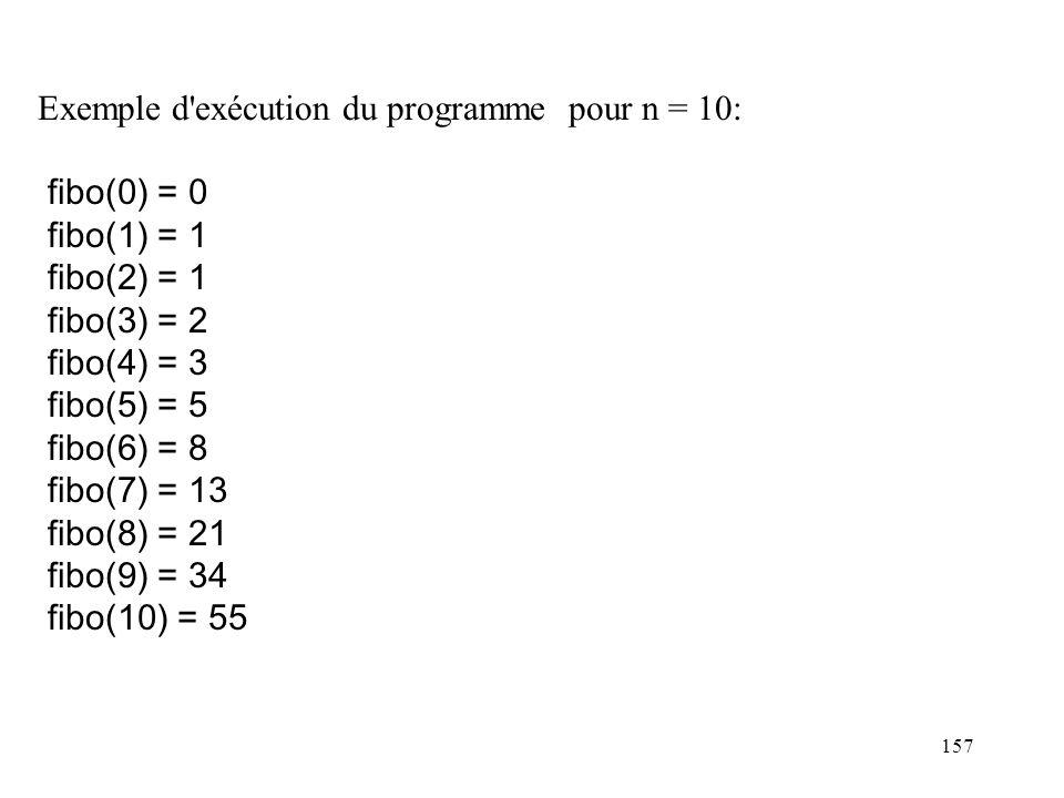 157 Exemple d'exécution du programme pour n = 10: fibo(0) = 0 fibo(1) = 1 fibo(2) = 1 fibo(3) = 2 fibo(4) = 3 fibo(5) = 5 fibo(6) = 8 fibo(7) = 13 fib