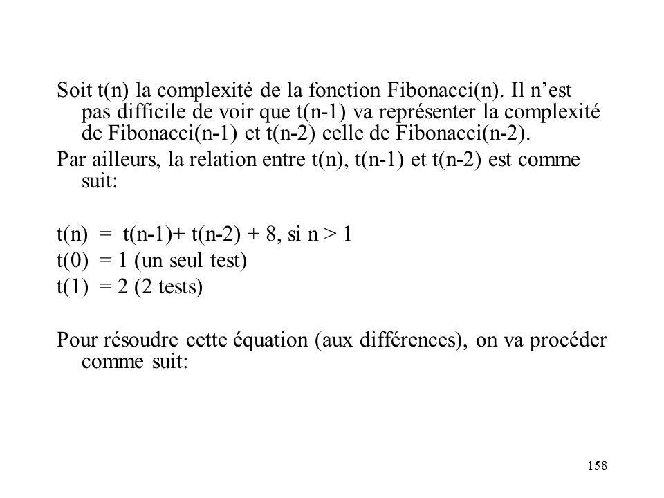 158 Soit t(n) la complexité de la fonction Fibonacci(n). Il nest pas difficile de voir que t(n-1) va représenter la complexité de Fibonacci(n-1) et t(