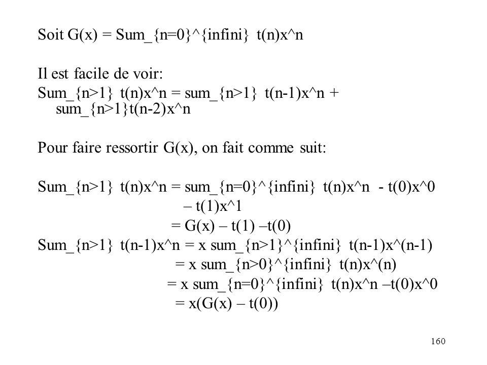 160 Soit G(x) = Sum_{n=0}^{infini} t(n)x^n Il est facile de voir: Sum_{n>1} t(n)x^n = sum_{n>1} t(n-1)x^n + sum_{n>1}t(n-2)x^n Pour faire ressortir G(