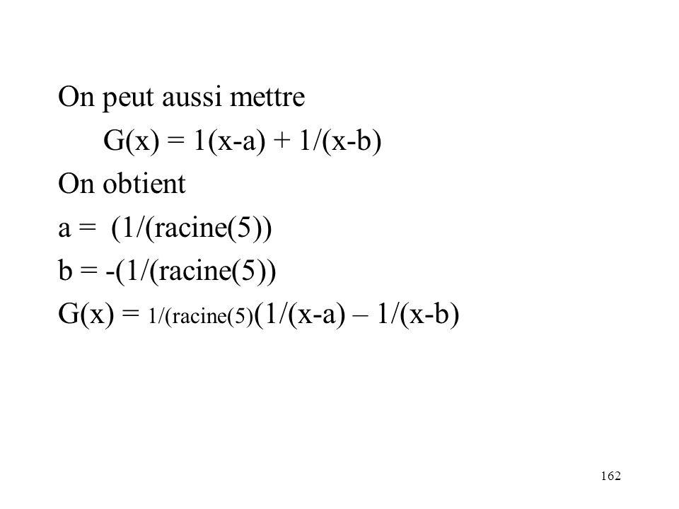 162 On peut aussi mettre G(x) = 1(x-a) + 1/(x-b) On obtient a = (1/(racine(5)) b = -(1/(racine(5)) G(x) = 1/(racine(5) (1/(x-a) – 1/(x-b)