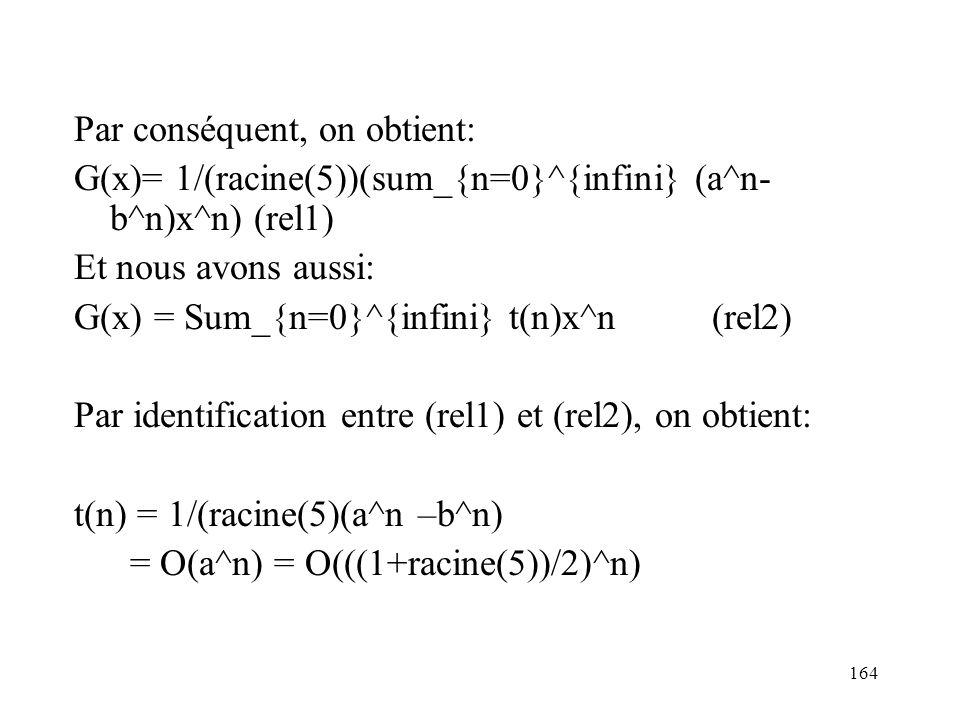 164 Par conséquent, on obtient: G(x)= 1/(racine(5))(sum_{n=0}^{infini} (a^n- b^n)x^n) (rel1) Et nous avons aussi: G(x) = Sum_{n=0}^{infini} t(n)x^n (r