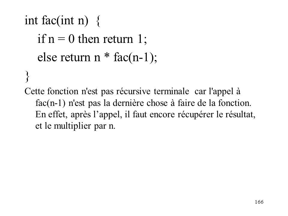 int fac(int n) { if n = 0 then return 1; else return n * fac(n-1); } Cette fonction n'est pas récursive terminale car l'appel à fac(n-1) n'est pas la