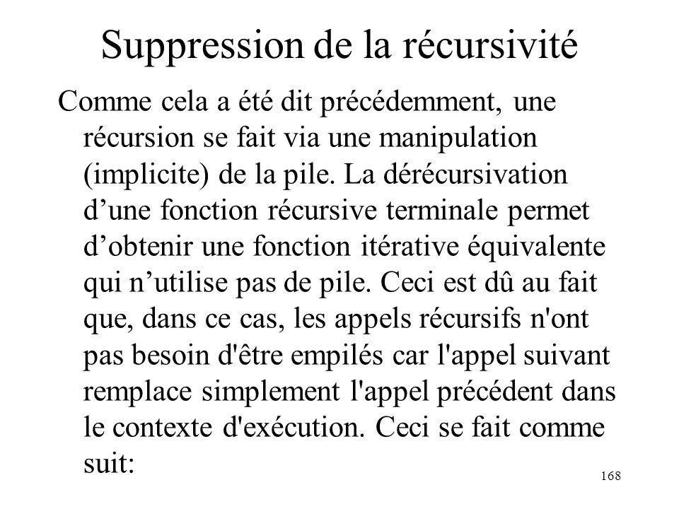 Suppression de la récursivité Comme cela a été dit précédemment, une récursion se fait via une manipulation (implicite) de la pile. La dérécursivation