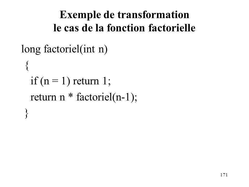 Exemple de transformation le cas de la fonction factorielle long factoriel(int n) { if (n = 1) return 1; return n * factoriel(n-1); } 171